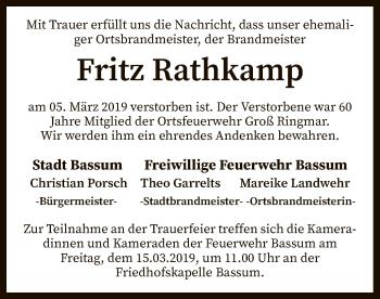 Traueranzeige für Fritz Rathkamp vom 14.03.2019 aus SYK