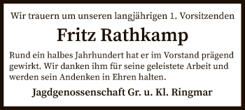 Traueranzeige für Fritz Rathkamp vom 12.03.2019 aus SYK