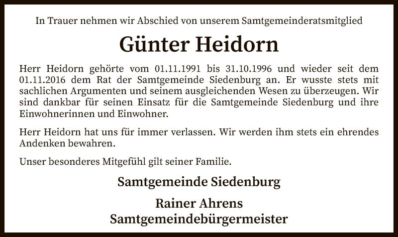 Traueranzeige für Günter Heidorn vom 13.03.2019 aus SYK