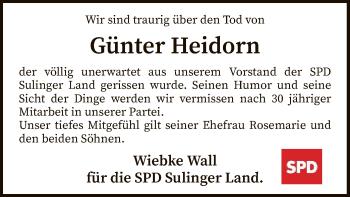 Traueranzeige für Günter Heidorn vom 14.03.2019 aus SYK