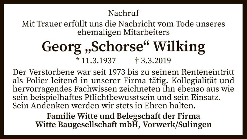 Traueranzeige für Georg Wilking vom 19.03.2019 aus SYK