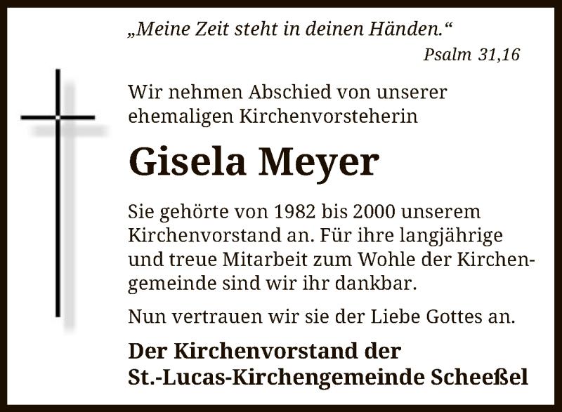 Traueranzeige für Gisela Meyer vom 14.03.2019 aus SYK