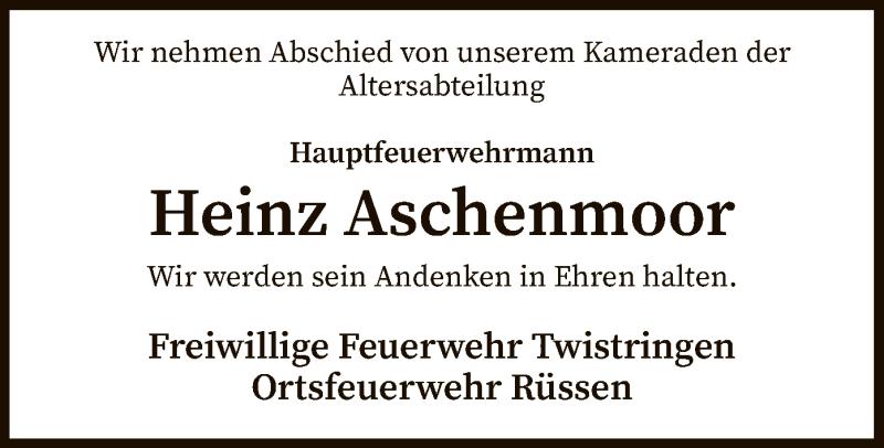 Traueranzeige für Heinz Aschenmoor vom 14.03.2019 aus SYK