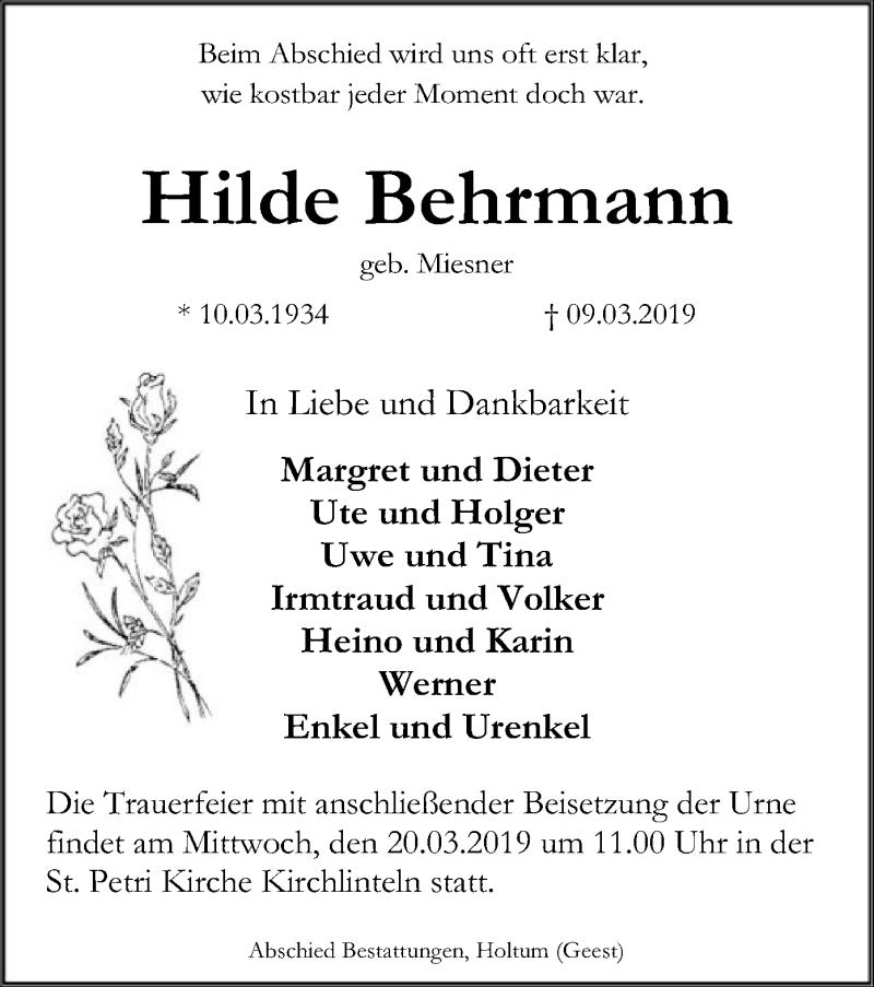 Traueranzeige für Hilde Behrmann vom 13.03.2019 aus SYK