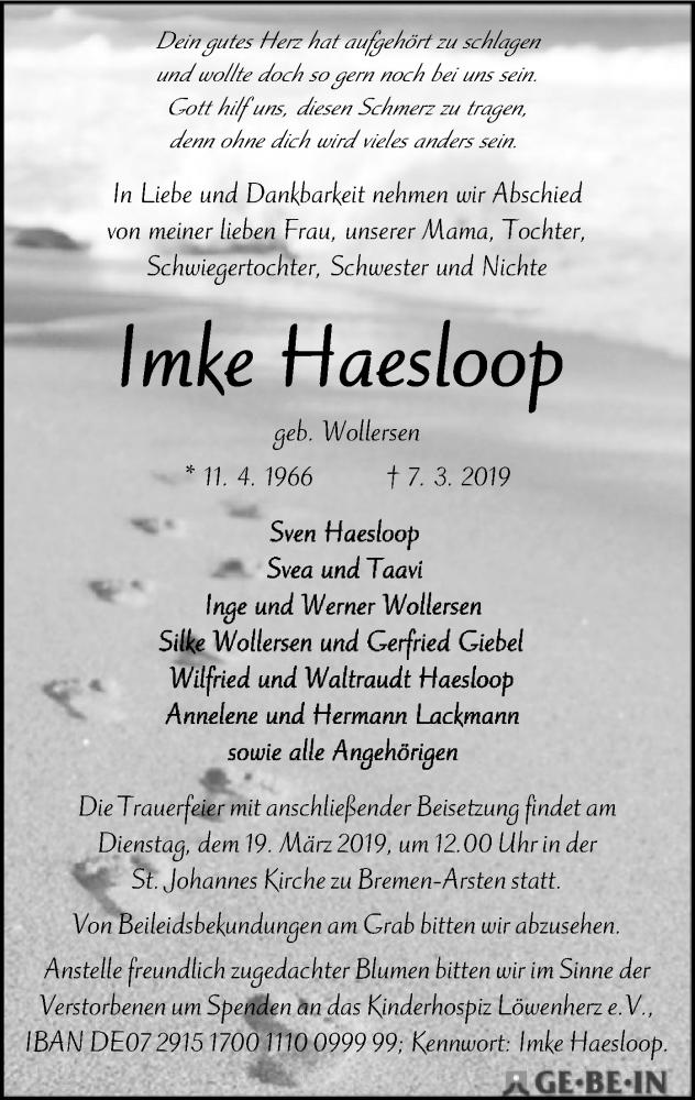 Traueranzeige für Imke Haesloop vom 13.03.2019 aus SYK
