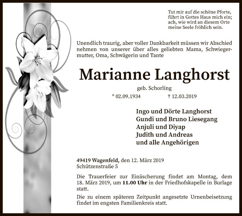 Traueranzeige für Marianne Langhorst vom 14.03.2019 aus SYK