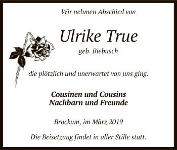 Traueranzeige für Ulrike True vom 14.03.2019 aus SYK