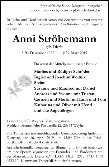 Traueranzeige für Anni Ströhemann vom 06.04.2019 aus SYK