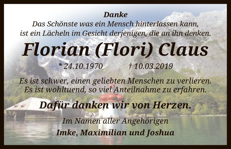 Traueranzeige für Florian Claus vom 06.04.2019 aus SYK