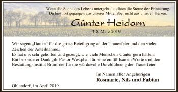 Traueranzeige für Günter Heidorn vom 20.04.2019 aus SYK