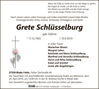 Traueranzeige für Grete Schlüsselburg vom 13.04.2019 aus SYK