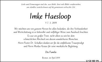 Traueranzeige für Imke Haesloop vom 20.04.2019 aus SYK