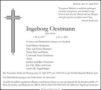 Traueranzeige für Ingeborg Oestmann vom 12.04.2019 aus SYK