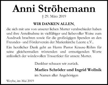 Traueranzeige für Anni Ströhemann vom 15.05.2019 aus SYK