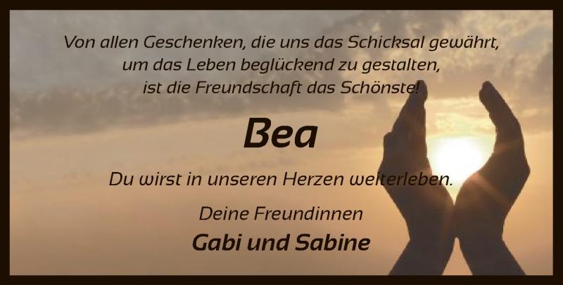 Traueranzeige für Bea  vom 18.05.2019 aus SYK