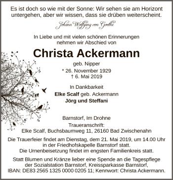 Traueranzeige für Christa Ackermann vom 16.05.2019 aus SYK