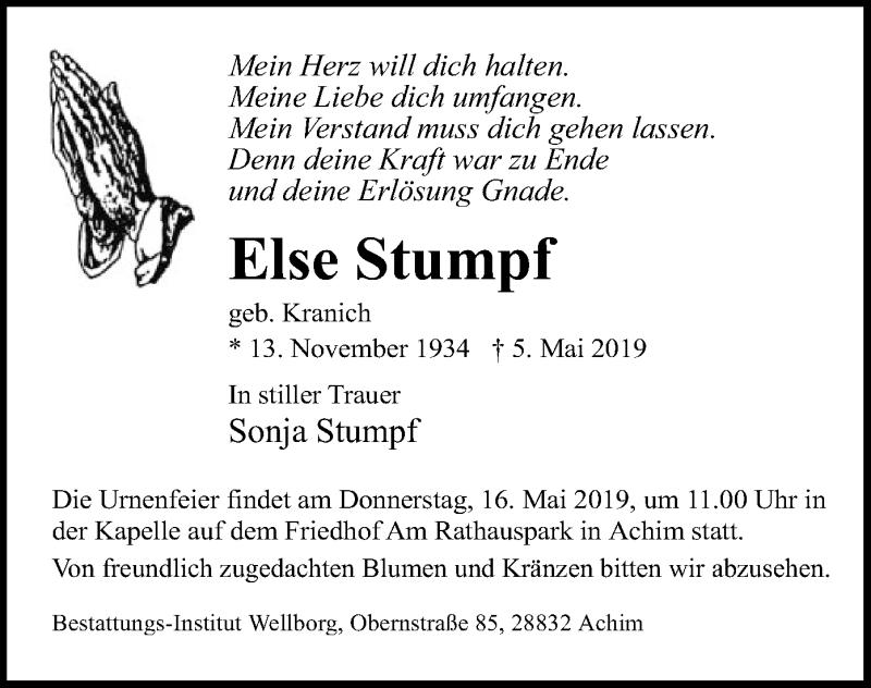 Traueranzeige für Else Stumpf vom 14.05.2019 aus SYK