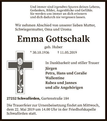 Traueranzeige für Emma Gottschalk vom 15.05.2019 aus SYK