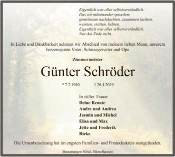 Traueranzeige für Günter Schröder vom 18.05.2019 aus SYK