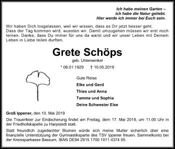 Traueranzeige für Grete Schöps vom 14.05.2019 aus SYK