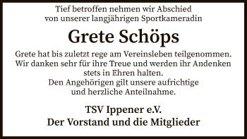 Traueranzeige für Grete Schöps vom 15.05.2019 aus SYK