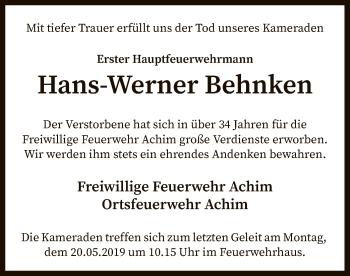 Traueranzeige für Hans-Werner Behnken vom 15.05.2019 aus SYK