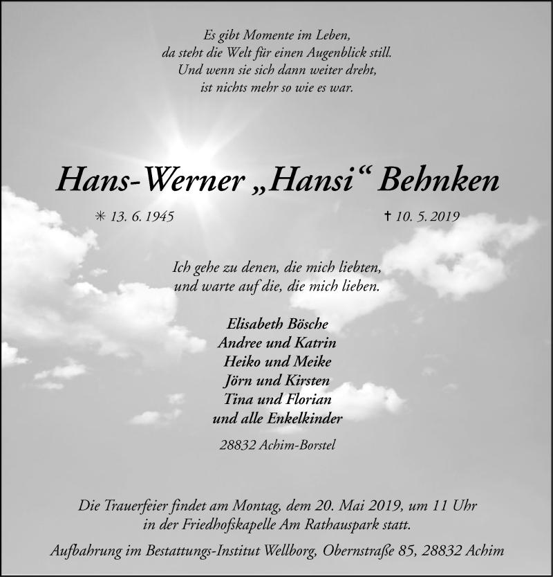 Traueranzeige für Hans-Werner Behnken vom 14.05.2019 aus SYK