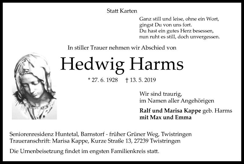 Traueranzeige für Hedwig Harms vom 15.05.2019 aus SYK