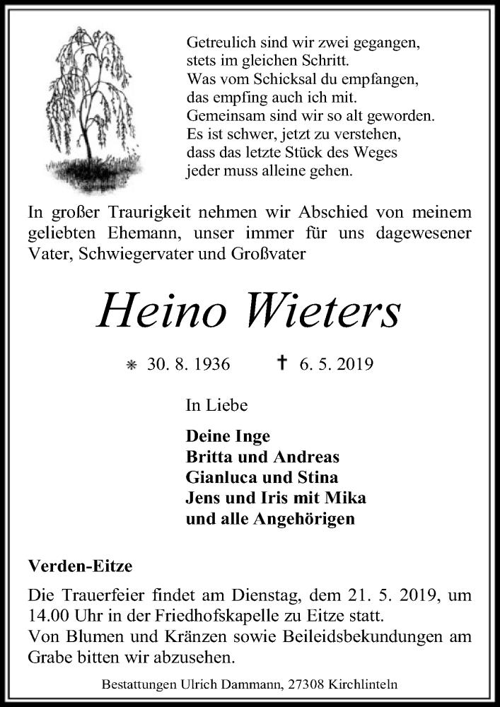 Traueranzeige für Heino Wieters vom 17.05.2019 aus SYK