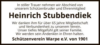 Traueranzeige für Heinrich Stubbendiek vom 15.05.2019 aus SYK