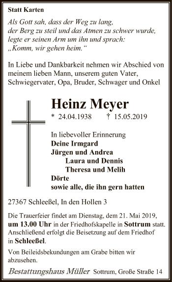 Traueranzeige für Heinz Meyer vom 17.05.2019 aus SYK