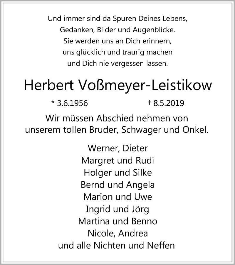 Traueranzeige für Herbert Voßmeyer-Leistikow vom 15.05.2019 aus SYK