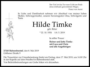 Traueranzeige für Hilde Timke vom 15.05.2019 aus SYK
