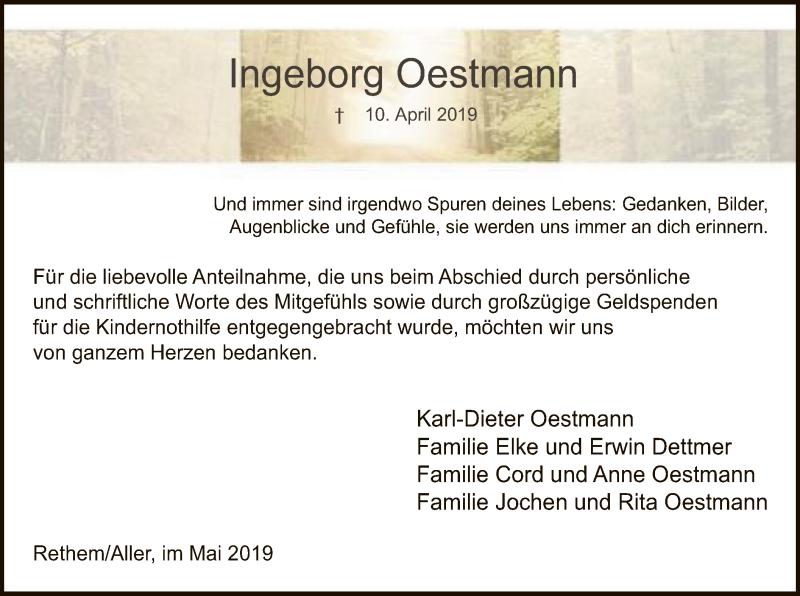Traueranzeige für Ingeborg Oestmann vom 18.05.2019 aus SYK