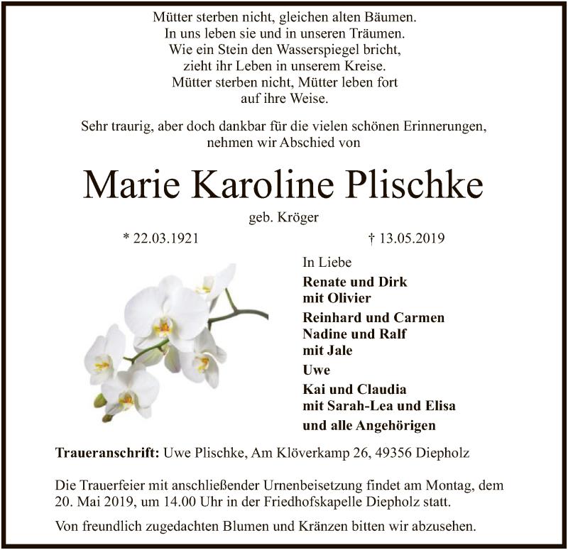 Traueranzeige für Marie Karoline Plischke vom 15.05.2019 aus SYK