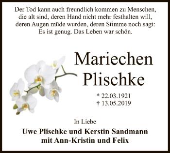 Traueranzeige für Mariechen Plischke vom 15.05.2019 aus SYK