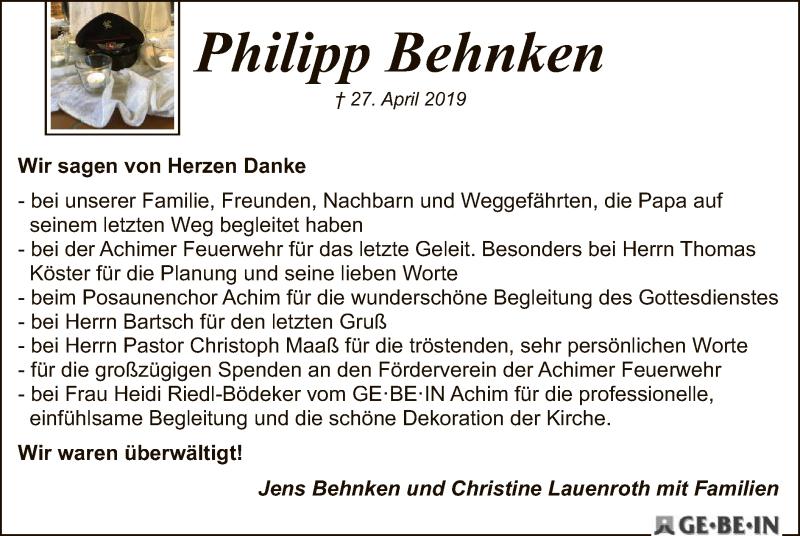 Traueranzeige für Philipp Behnken vom 25.05.2019 aus SYK