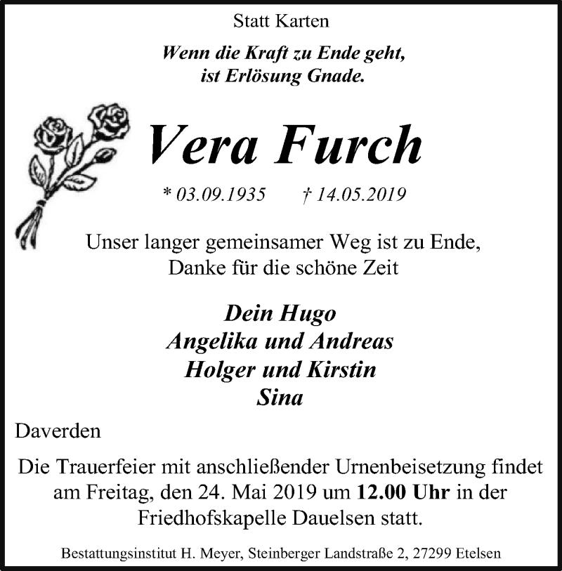 Traueranzeige für Vera Furch vom 18.05.2019 aus SYK