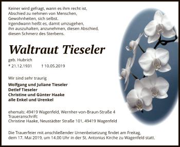 Traueranzeige für Waltraut Tieseler vom 14.05.2019 aus SYK