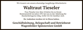 Traueranzeige für Waltraut Tieseler vom 15.05.2019 aus SYK