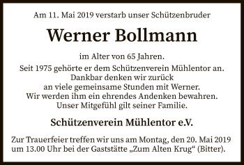 Traueranzeige für Werner Bollmann vom 16.05.2019 aus SYK