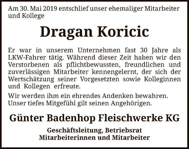 Traueranzeige für Dragan Koricic vom 14.06.2019 aus SYK