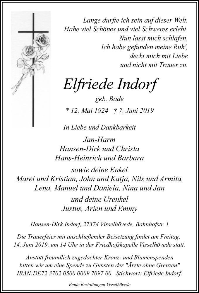 Traueranzeige für Elfriede Indorf vom 11.06.2019 aus SYK