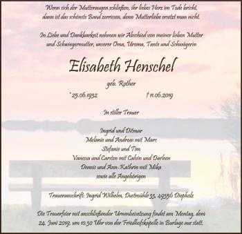 Traueranzeige für Elisabeth Henschel vom 12.06.2019 aus SYK
