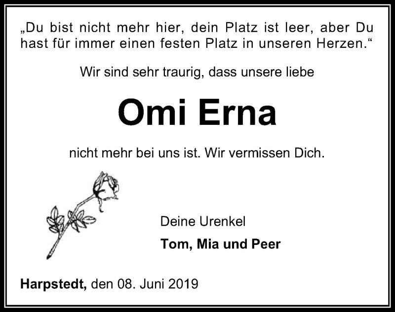 Traueranzeige für Erna Ranke vom 11.06.2019 aus SYK