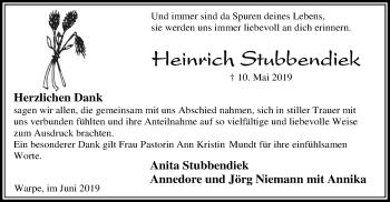 Traueranzeige für Heinrich Stubbendiek vom 15.06.2019 aus SYK