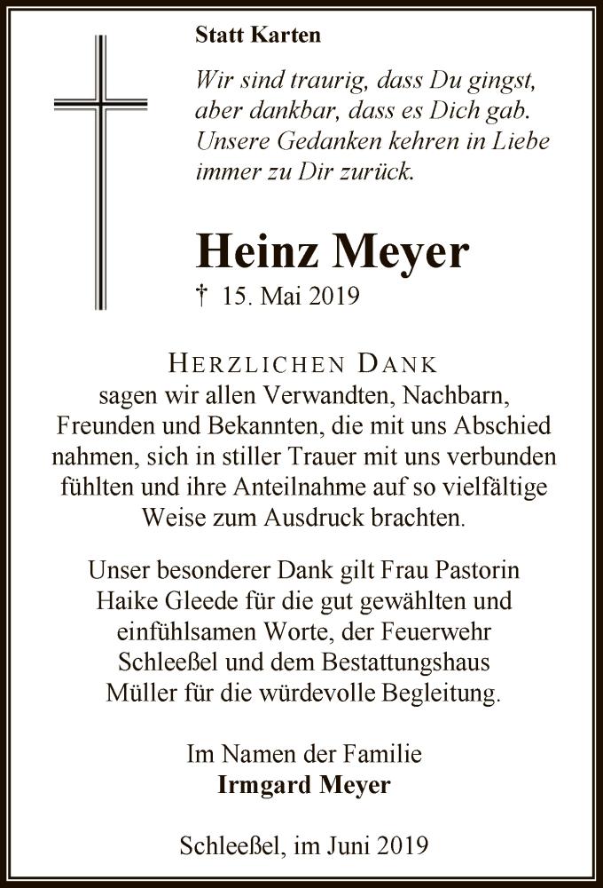 Traueranzeige für Heinz Meyer vom 15.06.2019 aus SYK