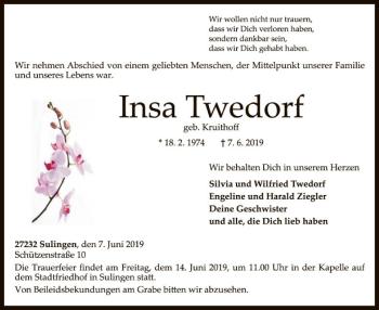 Traueranzeige für Insa Twedorf vom 12.06.2019 aus SYK