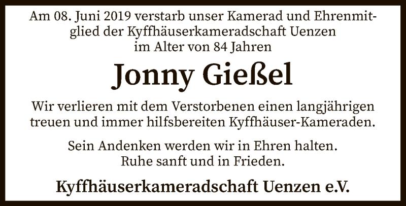 Traueranzeige für Jonny Gießel vom 13.06.2019 aus SYK