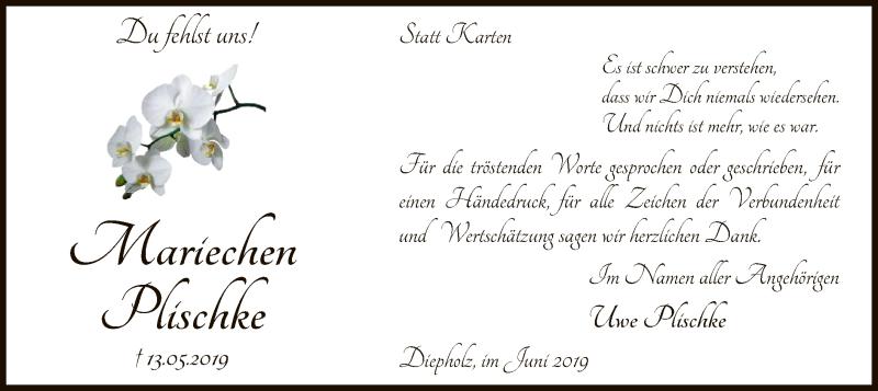 Traueranzeige für Mariechen Plischke vom 26.06.2019 aus SYK